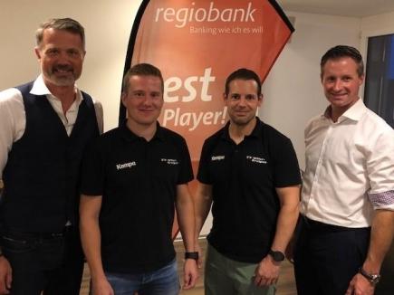 Talk-Teilnehmer (v.l.n.r): Rot. Alex Miescher (Moderator), Tatu Väänänen (SVWE Captain), Matthias Hofbauer (bester WM-Skorer), Rot. Thomas Meuli (Regiobank Solothurn)